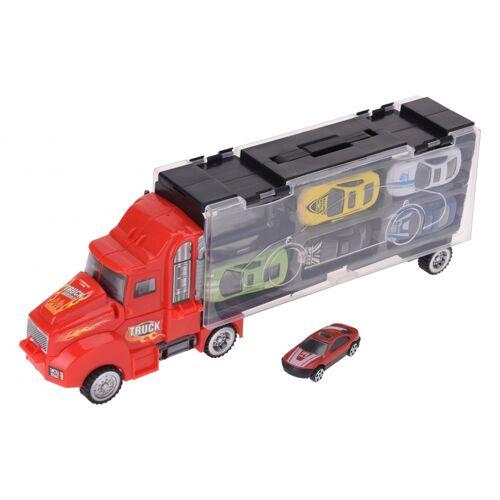 Tender Toys autotransporter rood 33 cm - Rood