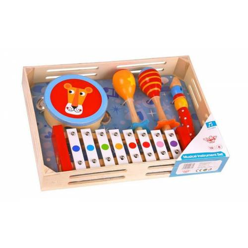 Tooky Toy instrumentenset junior hout 5 delig - Multicolor