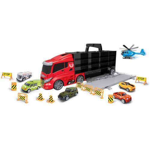 Luna autotransporter City 55 cm zwart/rood 16 delig - Zwart,Rood