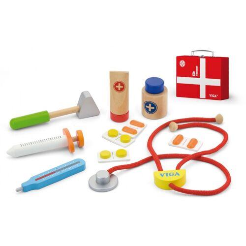 Viga Toys dokterskoffer 21 cm rood 11 delig - Rood