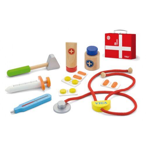 Viga Toys dokterskoffer junior hout 11 delig - Multicolor