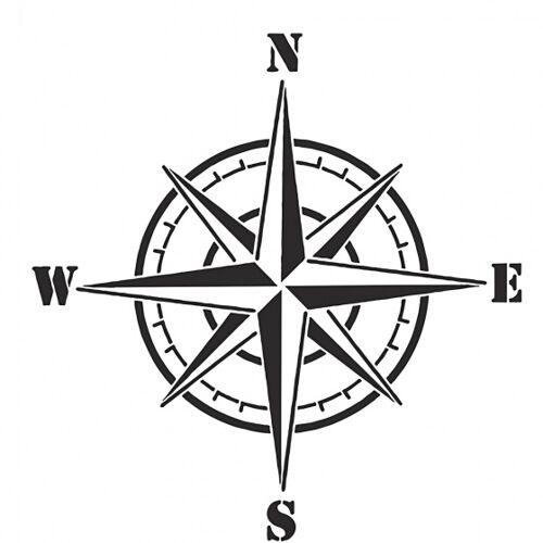 Viva Decor Flexibel sjabloon kompas 21 x 30 cm wit - Wit,Crème