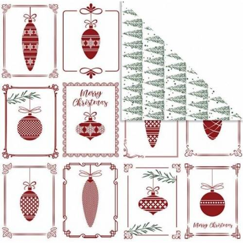 Vivi Gade dubbelzijdig designpapier versieringen 30,5 cm 3 stuks - Rood,Wit