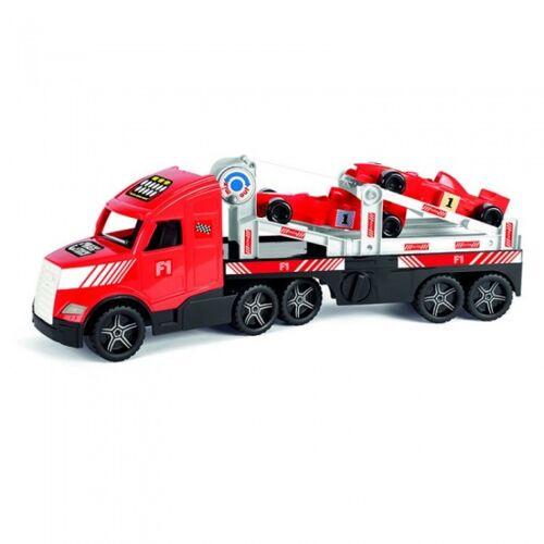 Wader autotransport truck met twee formule 1 auto´s 79 cm rood - Rood