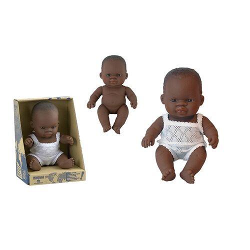 Miniland Babypop Afrikaans Meisje 21 cm - Bruin,Wit
