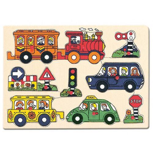 Bino vormenpuzzel voertuigen junior 30 x 22,5 cm hout 9 delig - Multicolor