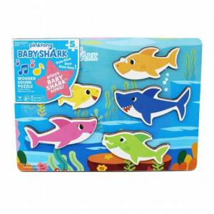 Pinkfong vormenpuzzel Baby Shark geluid 29,6 cm hout 6 delig - Multicolor,Blauw