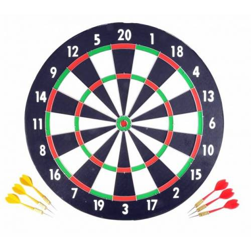 Longfield Games dartbord 43 cm met zes darts - Zwart