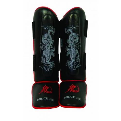 Bruce Lee beenbeschermers Dragon Deluxe zwart/rood maat S/M - Zwart,Rood