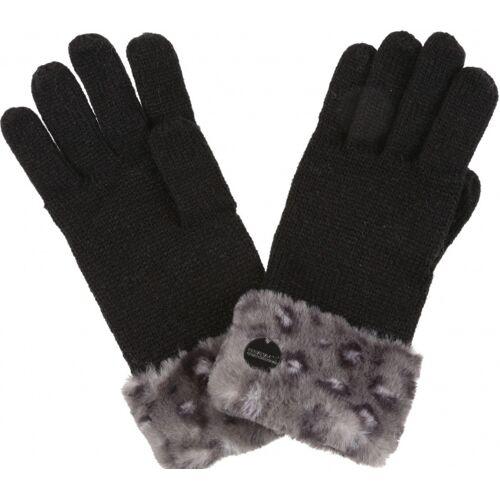 Regatta handschoenen Walsh Luz II dames acryl zwart maat L/XL - Zwart,Grijs
