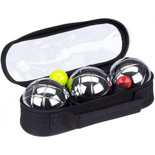 Get & Go jeu de boules set staal/polyester zilver/zwart 6 delig - Zilver,Zwart