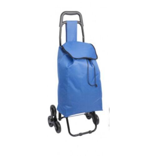 TOM boodschappentrolley 41x33x94 cm RVS/kunststof blauw - Blauw