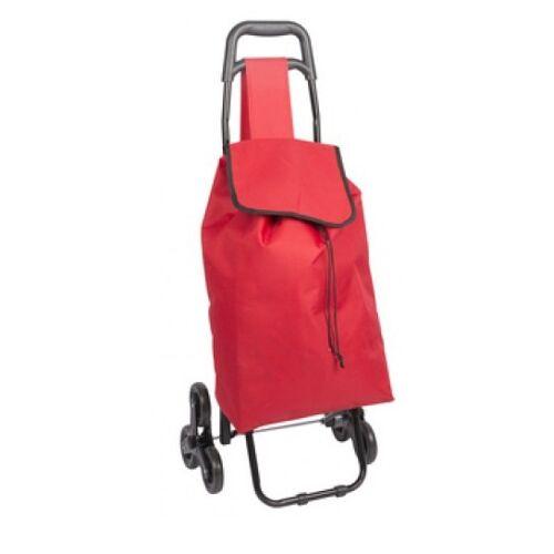 TOM boodschappentrolley 41x33x94 cm RVS/kunststof rood - Rood,Zwart