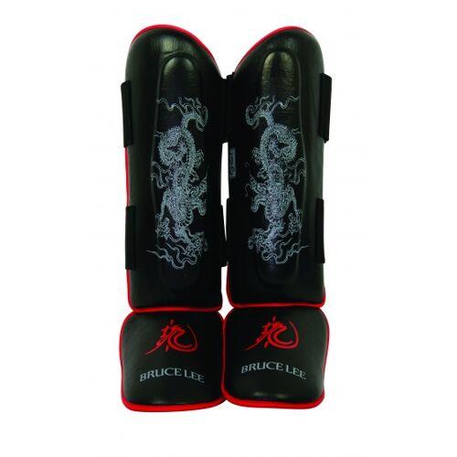 Bruce Lee beenbeschermers Dragon Deluxe zwart/rood maat L/XL - Zwart,Rood