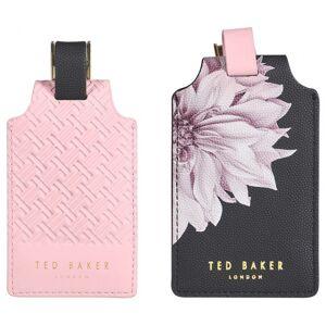 Wild & Wolf kofferlabel Ted Baker kunstleer zwart/roze 2 stuks - Zwart,Roze