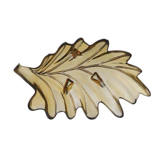 Mica Decorations decoratieschaal blad 35 x 18,5 cm glas bruin - Bruin