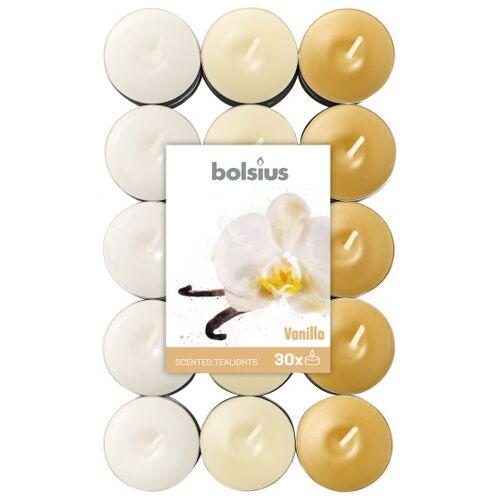 Bolsius geurkaarsen theelicht Vanilla bruin/wit 30 stuks - Bruin,Wit