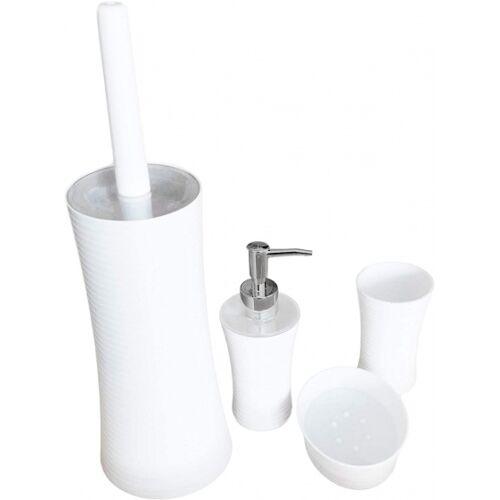 Alpina toiletaccessoire set staal wit 4 delig
