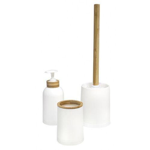 Balvi toiletaccessoire set Zen bamboe/PP wit/naturel 3 delig
