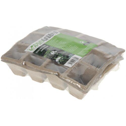 Pro Garden kweekpotten 12 vaks 21 x 17 x 4,5 cm karton 2 stuks - Bruin