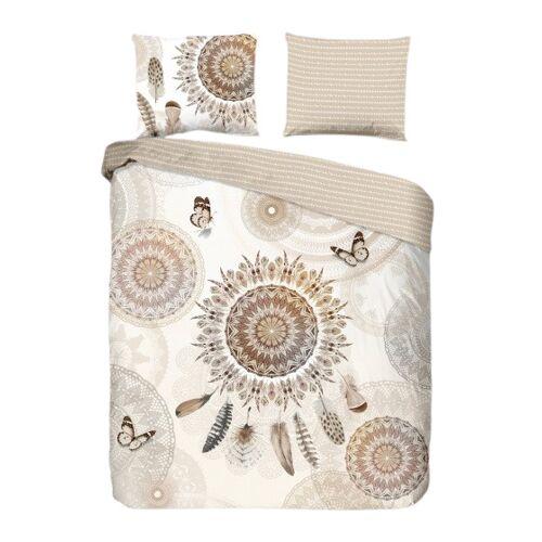 Hip beddengoed Alani 220 x 200 cm katoen beige/wit - Beige