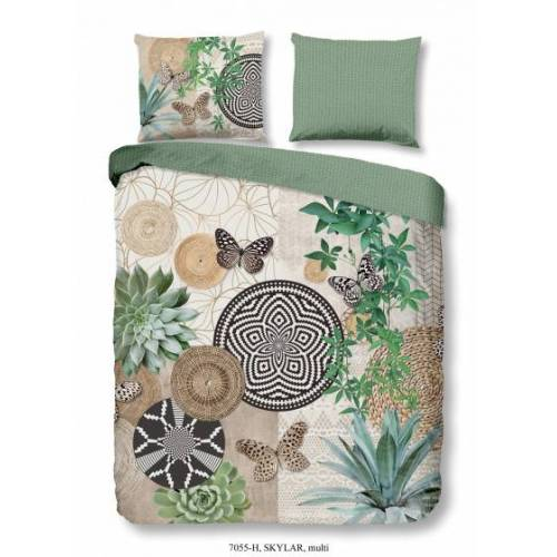 Hip beddengoed skylar 200 x 220 cm katoen wit groen - Wit,Groen