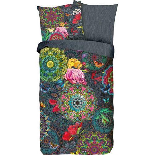 Hip beddengoed bloemen 135 x 200 cm katoen antraciet - Antraciet