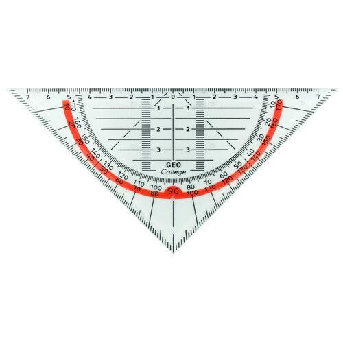 Aristo geodriehoek 16 cm transparant/rood