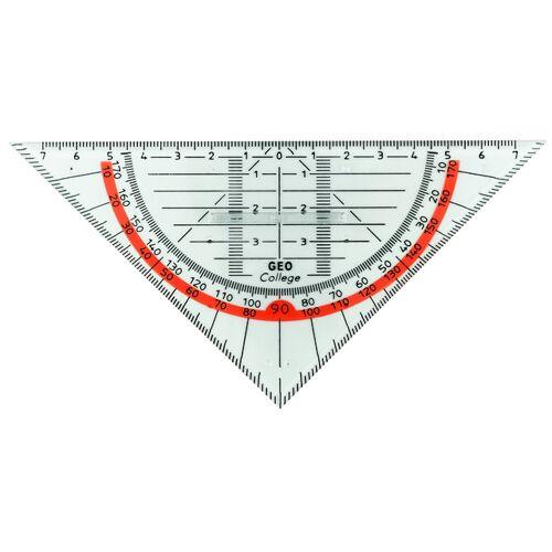 Aristo geodriehoek met greep 16 cm transparant/rood