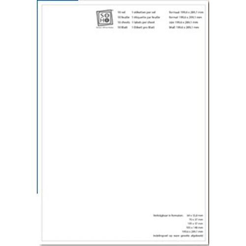 Soho etiketten 19,9 x 28,9 cm papier wit 10 stuks