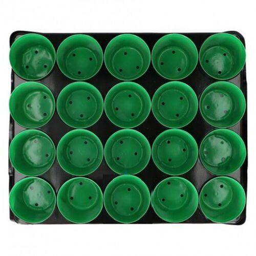 Kinzo kweekpotten met tray 6 x 25,4 x 30 cm 12 stuks - Groen