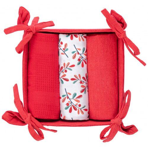 Amo La Casa theedoeken in mandje 15 x 30 cm katoen rood/wit
