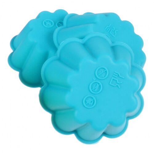 TOM bakvorm bloem 6,7 x 7,5 cm siliconen blauw 3 stuks