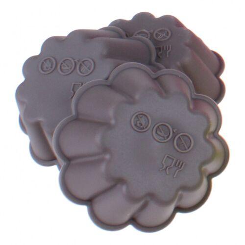 TOM bakvorm bloem 6,7 x 7,5 cm siliconen grijs 3 stuks