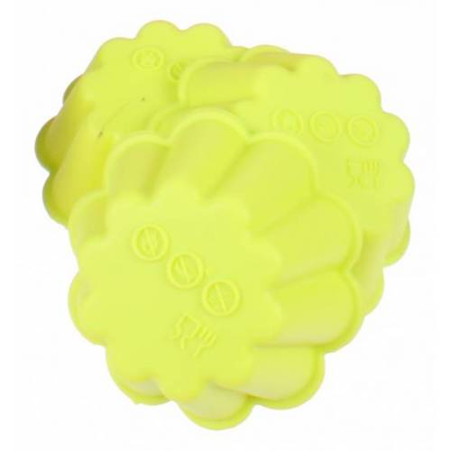 TOM bakvorm bloem 6,7 x 7,5 cm siliconen groen 3 stuks