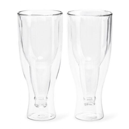 Balvi bierglazen Gravity 400ml 20,5 cm glas 2 stuks - Transparant