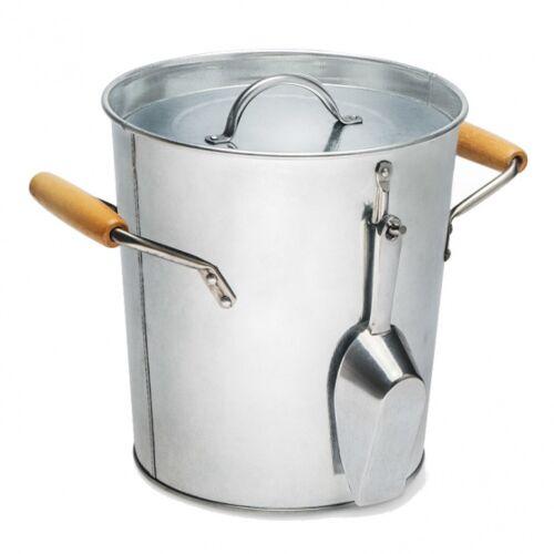 Balvi wijnkoeler/ijsemmer 5,5 liter 20,5 cm metaal/hout zilver - Zilver