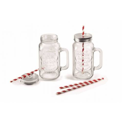 Lacor bekerset Mix & Go 17 cm glas 500 ml transparant 6 delig - Transparant