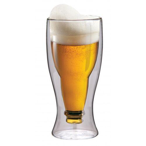 Maxxo bierglas dubbelwandig 21 cm glas transparant - Transparant