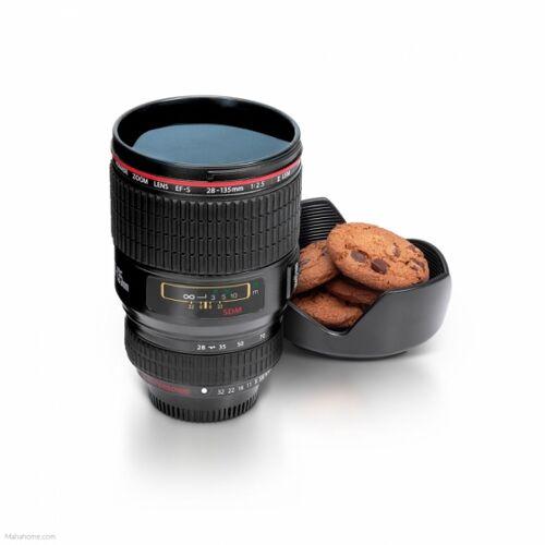 thumbsUp! beker camera lens zwart 17 cm - Zwart