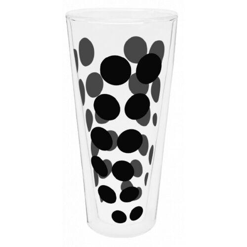Zak!Designs hoge glazen Dot Dot dubbelwandig 400 ml zwart - Zwart