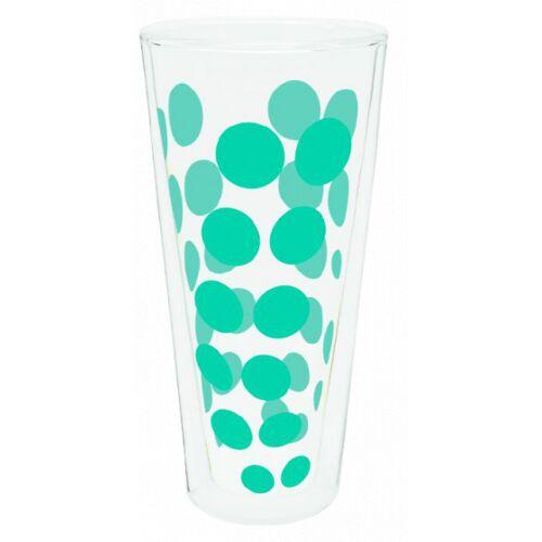 Zak!Designs hoge glazen Dot Dot dubbelwandig 400 ml aqua - Aqua