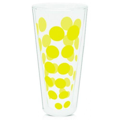 Zak!Designs hoge glazen Dot Dot dubbelwandig 400 ml geel - Geel