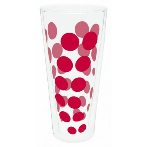 Zak!Designs hoge glazen Dot Dot dubbelwandig 400 ml rood - Rood