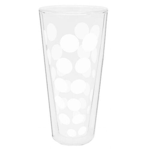 Zak!Designs hoge glazen Dot Dot dubbelwandig 400 ml wit - Wit