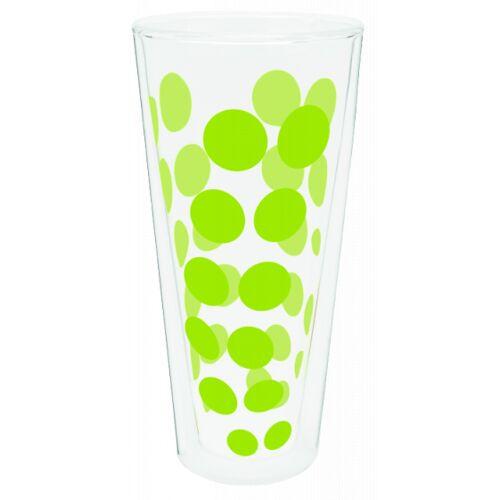 Zak!Designs hoge glazen Dot Dot dubbelwandig 400 ml groen - Groen