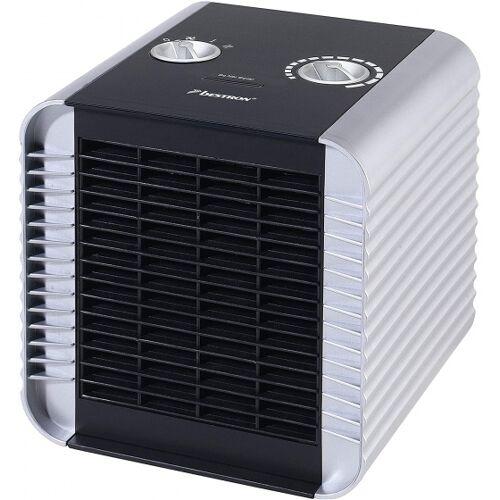 Bestron elektrische ventilatorkachel 1500W staal zilver/zwart - Zilver,Zwart