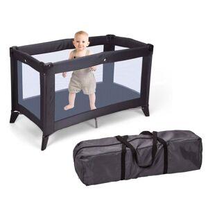 Kinderbed donkergrijs vouwbaar - Inclusief matras en tas