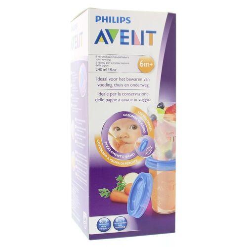 Avent Via voorraadbeker moedermelk 5 stuks + deksel (240 ml)