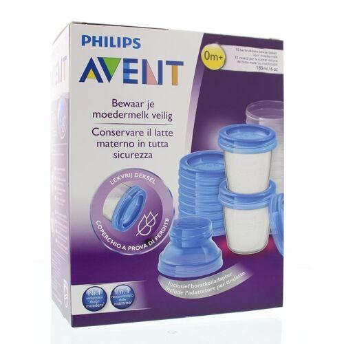 Avent Via voorraadbeker moedermelk set & adapter (1 set)